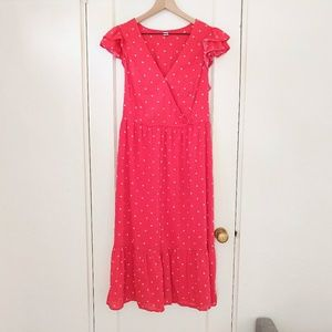 Old Navy Red Polka Dot Surplice Wrap Ruffle Dress